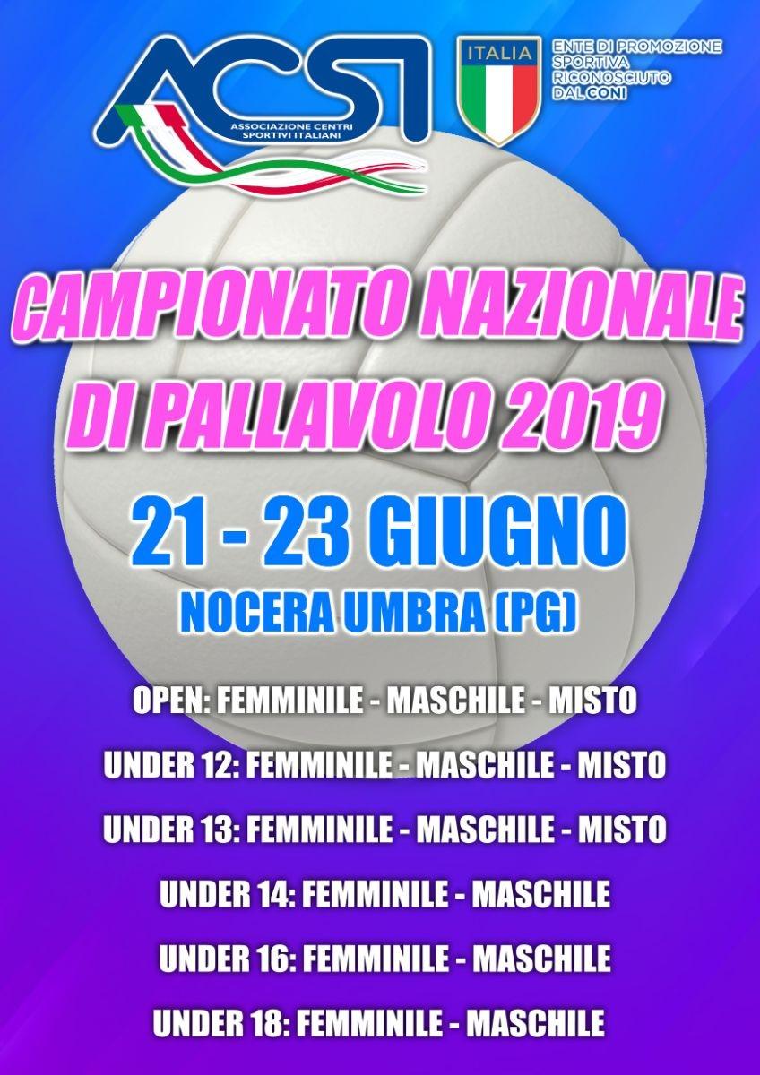 best loved 99239 80968 Dal 21 al 23 giugno a Nocera Umbra (PG) si terrà il Campionato Nazionale di  Pallavolo ACSI 2019.